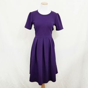 Lularoe Amelia dress solid purple royal medium EUC